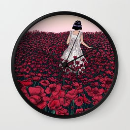 Field of Poppies | Colour Version Wall Clock