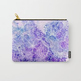 Modern purple pastel pink peacock watercolor hand drawn white floral pattern Carry-All Pouch