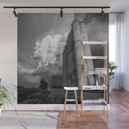 Sitka - Grain Elevator and Storm in Kansas Ghost Town in Black and White Wall Mural