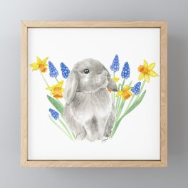 Gray Baby Bunny with Spring Flowers Framed Mini Art Print