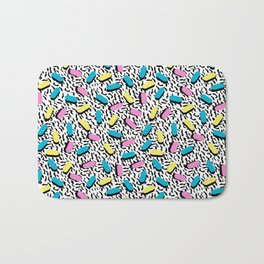 Poppin - memphis throwback retro 1980s 80s style classic trendy hipster pattern bright neon dorm Bath Mat