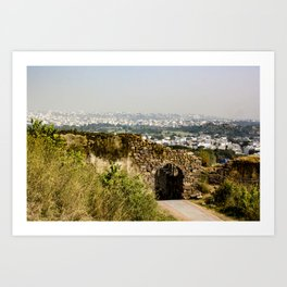 Looking at Downtown Hyderabad from Behind an Ancient Stone Wall in India Art Print