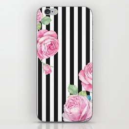 Black white blush pink watercolor floral stripes iPhone Skin
