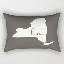 New York is Home - White on Charcoal Rectangular Pillow