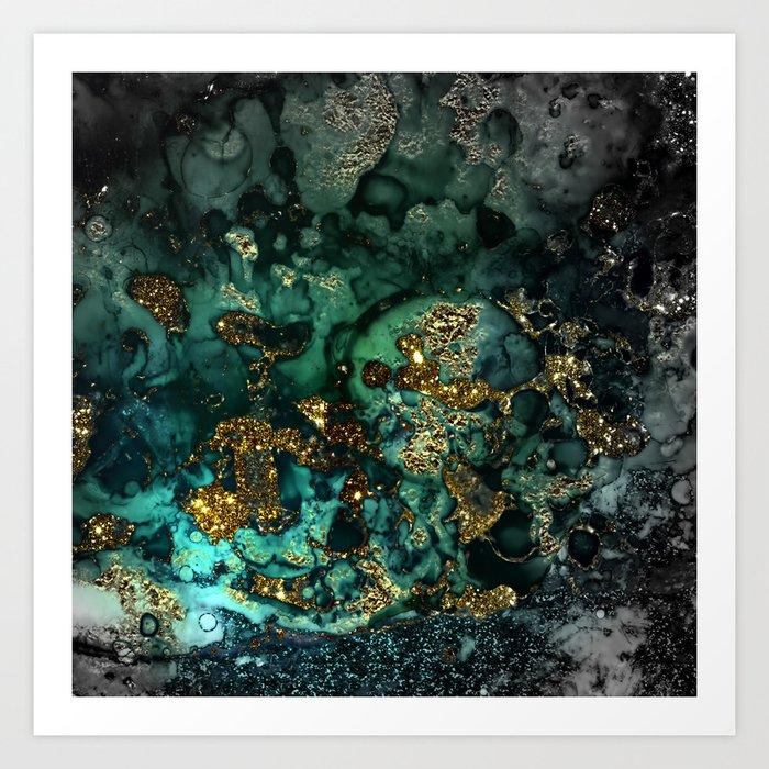Gold Indigo Malachite Marble Art Print