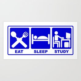 eat, sleep, study-hack Art Print