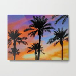 Sunset Palms by Reay of Light Metal Print