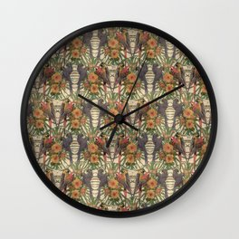 Retro style pattern with macaw parrots. Wall Clock
