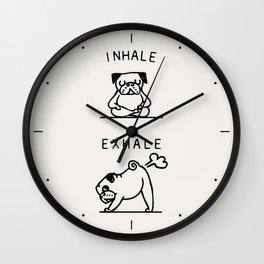 Inhale Exhale Pug Wall Clock