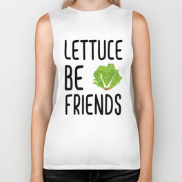 Lettuce Be Friends #lettuce #illustration #veggie #vegan #friends #green #veggiegift Biker Tank