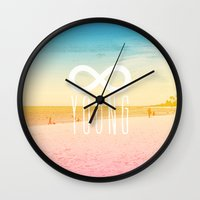 forever young Wall Clocks featuring Forever Young by M Studio