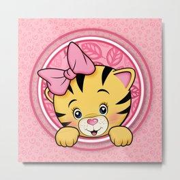 peek a boo baby tiger girl Metal Print