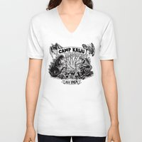 camp V-neck T-shirts featuring Camp Kaiju by Austin James
