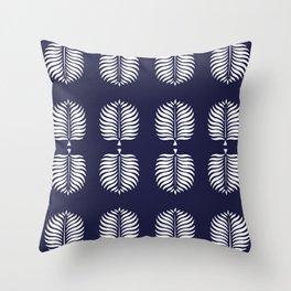 TROPICAL PALMS . BLUE + WHITE Throw Pillow