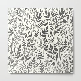 GRAY LEAVES Metal Print
