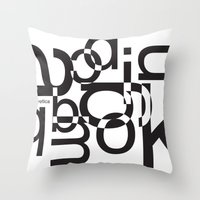helvetica Throw Pillows featuring helvetica 01 by Vin Zzep