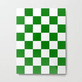 Large Checkered - White and Green Metal Print