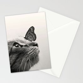 Butterfly on a cat's nose Stationery Cards
