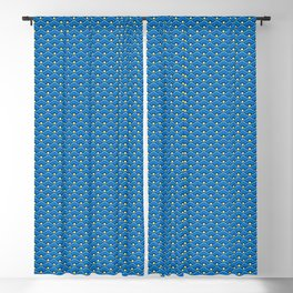 Deco Chinese Scallops, Ocean Blue and Indigo Blackout Curtain