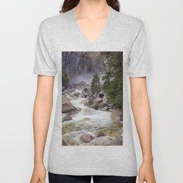 Yosemite USA brook Nature Parks Trunk tree Stones Creek Creeks Stream Streams park stone Unisex V-Neck