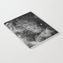 Antique Map Space Stars Black and White Notebook