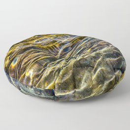 Prismatic Waves in Blue Gold and Green Floor Pillow