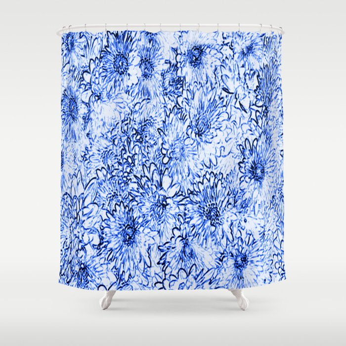 Blue Floral Sketchier Shower Curtain By Judypalkimas Society6