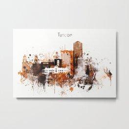 Brown Watercolor Tucson watercolor skyline Metal Print
