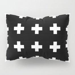 Swiss Cross Black Pillow Sham