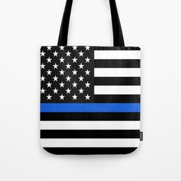 Thin Blue Line American Flag Tote Bag