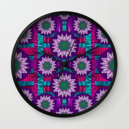Rain Bow fantasy flowers in wonderful jungle colors of calm Wall Clock