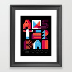 Postcards from Amsterdam / Typography Framed Art Print