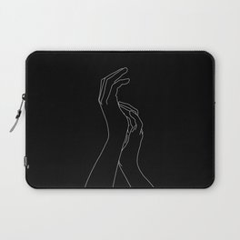 Hands line drawing illustration - Carly Black Laptop Sleeve