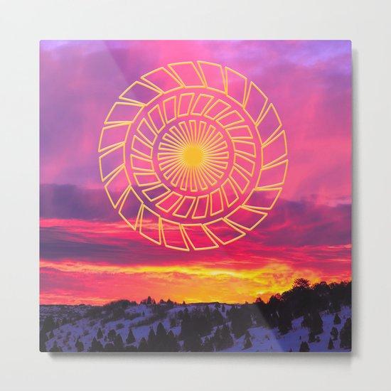 Pink Sunrise Golden Mandala Metal Print
