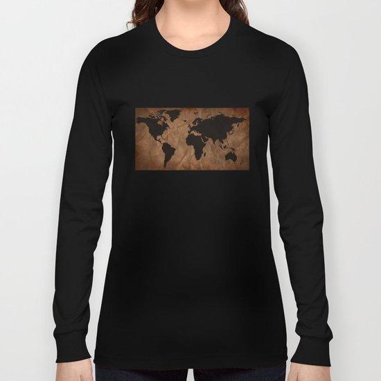Old Wrinkled World Map Long Sleeve T-shirt