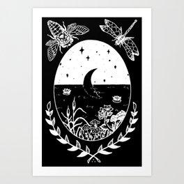 Moon River Marsh Illustration Invert Art Print
