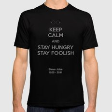 Stay hungry, Stay foolish MEDIUM Black Mens Fitted Tee