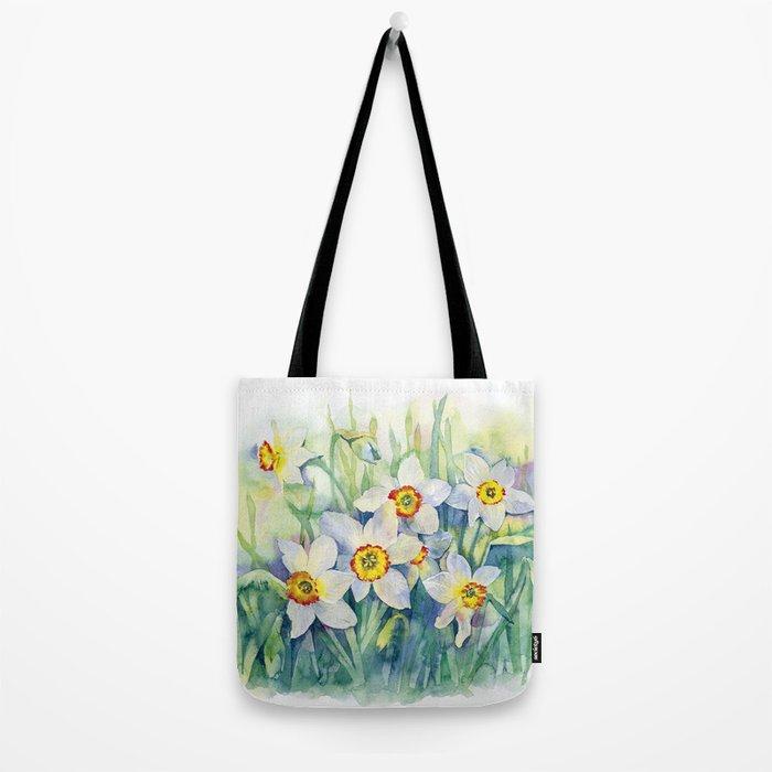 Daffodils watercolor illustration Tote Bag