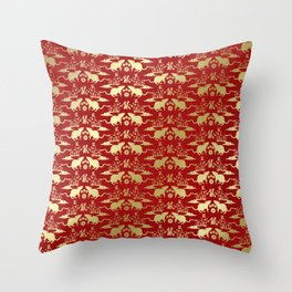 Chinese New Year of The Rat Pattern - Red and Gold Throw Pillow