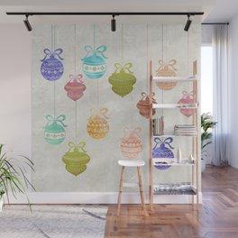 Colorful Watercolor Christmas Ornaments Wall Mural