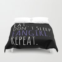 fangirl Duvet Covers featuring eat. don't sleep. FANGIRL. repeat by FandomizedRose