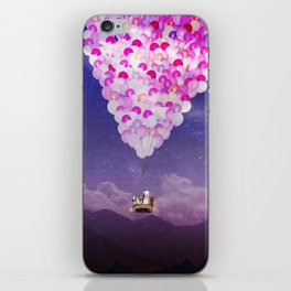 NEVER STOP EXPLORING IV PINK BALLOONS iPhone Skin
