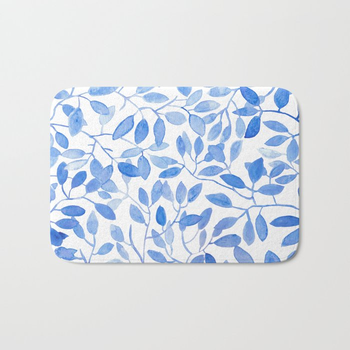 Watercolor Leafs Bath Mat