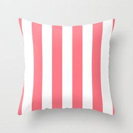 Strawberry Pink Sorbet Ice Cream Cabana Stripes Throw Pillow