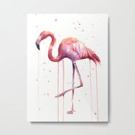 Flamingo Watercolor Tropical Birds Animal Painting Metal Print