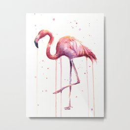 Flamingo Watercolor Tropical bird Metal Print