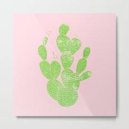 Linocut Cactus #1 Minty Pinky Metal Print