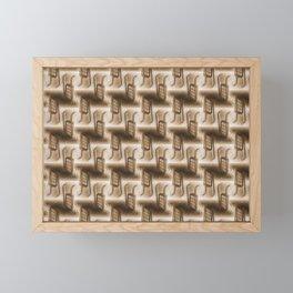 Battery Mishler ladder going nowhere, sepia maze of Ladders pattern Framed Mini Art Print