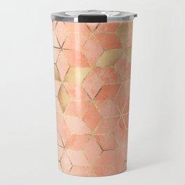 Soft Peach Gradient Cubes Travel Mug