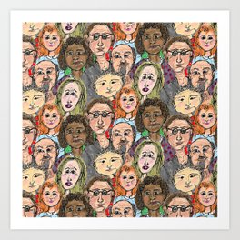 Cartoon Crowd Art Print